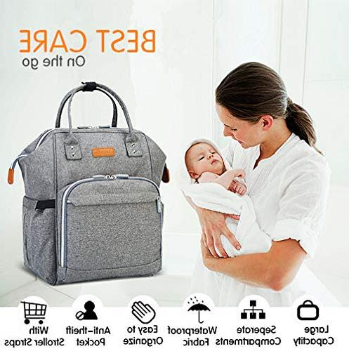 Baby Bag Large Capacity Travel Straps, Insulated Gift Mom Dad