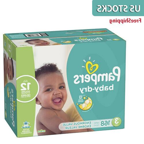 Pampers Baby Dry Disposable Diapers Size 1 2 3 4 5 6 ONE MONTH SUPPLY **No Tax