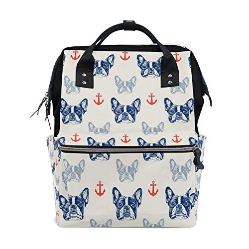 french bulldog pattern diaper bag