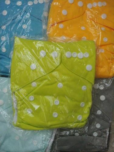 lot of 5 baby cloth diapers green
