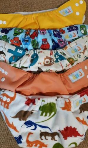 lot of 5 reusable diapers adjustable snaps