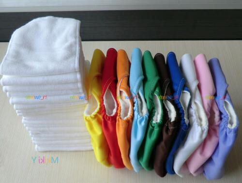 LOTS 10pcs+OB10 INSERTS Adjustable Reusable Washable Baby Cloth Diapers
