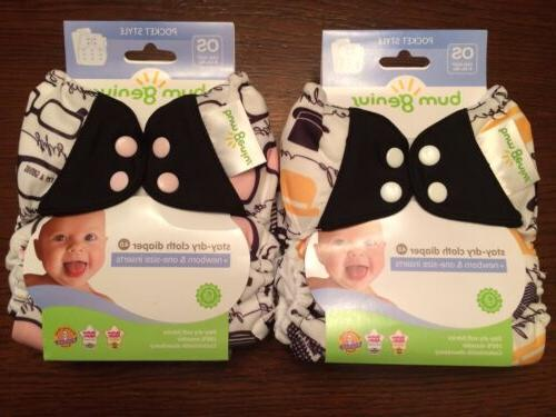 NIP New Lot 2 Bumgenius 4.0 Pocket Diaper Audrey & Chaplin