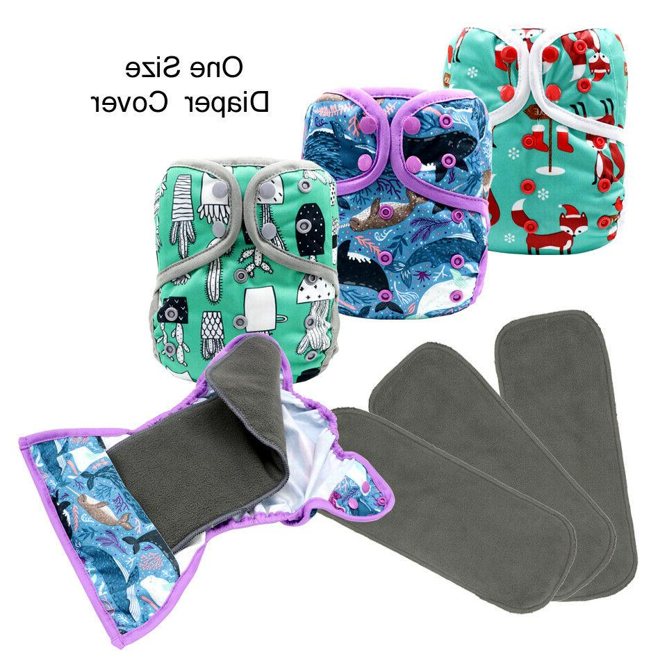 one size 3pcs cloth diaper cover snap