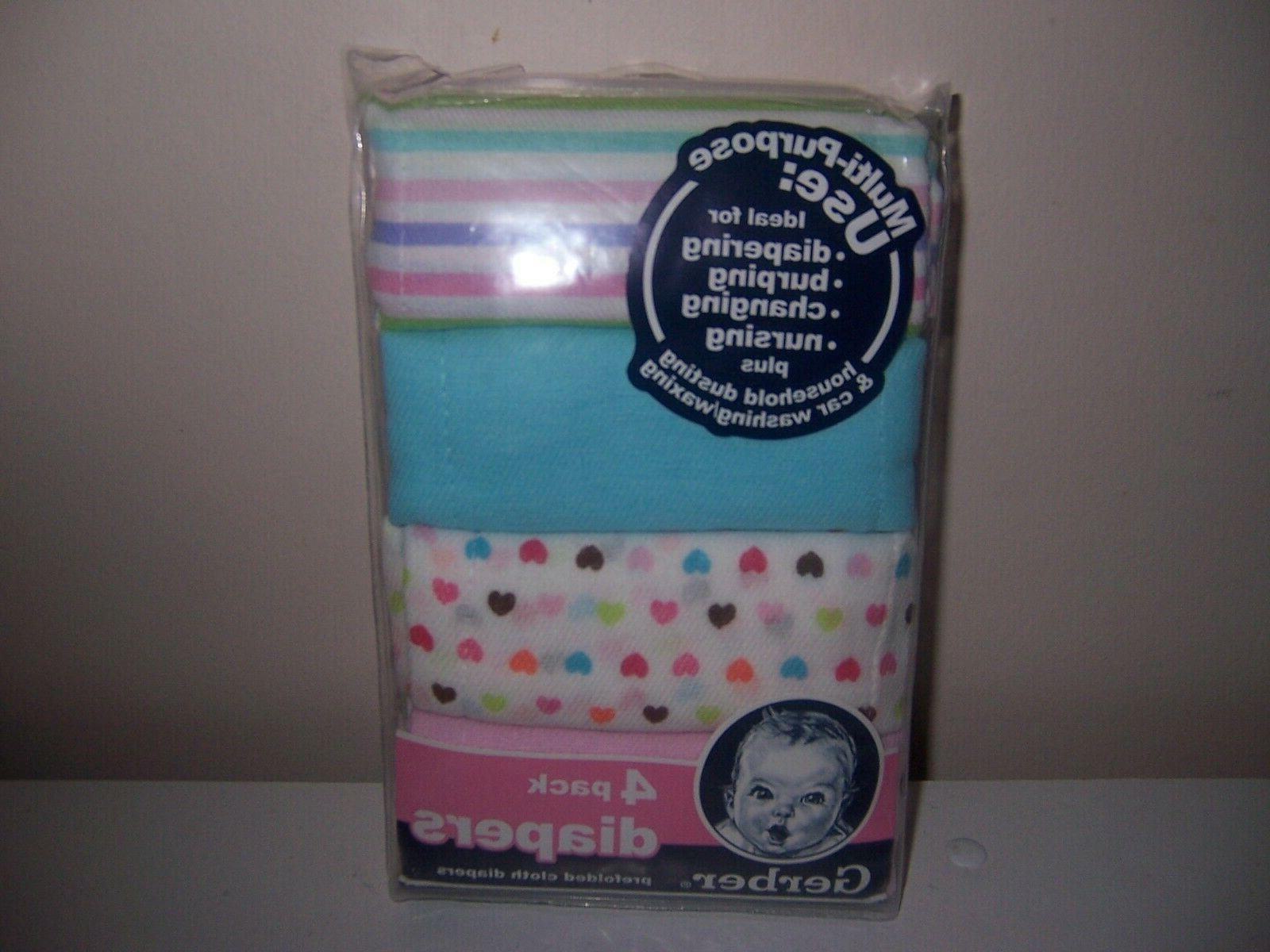 pink blue prefold cloth diapers new