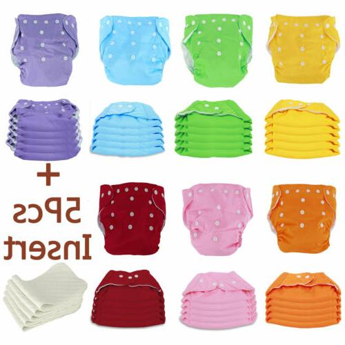 Washable Cloth Diapers Reusable SET Diapers + 5 Inserts