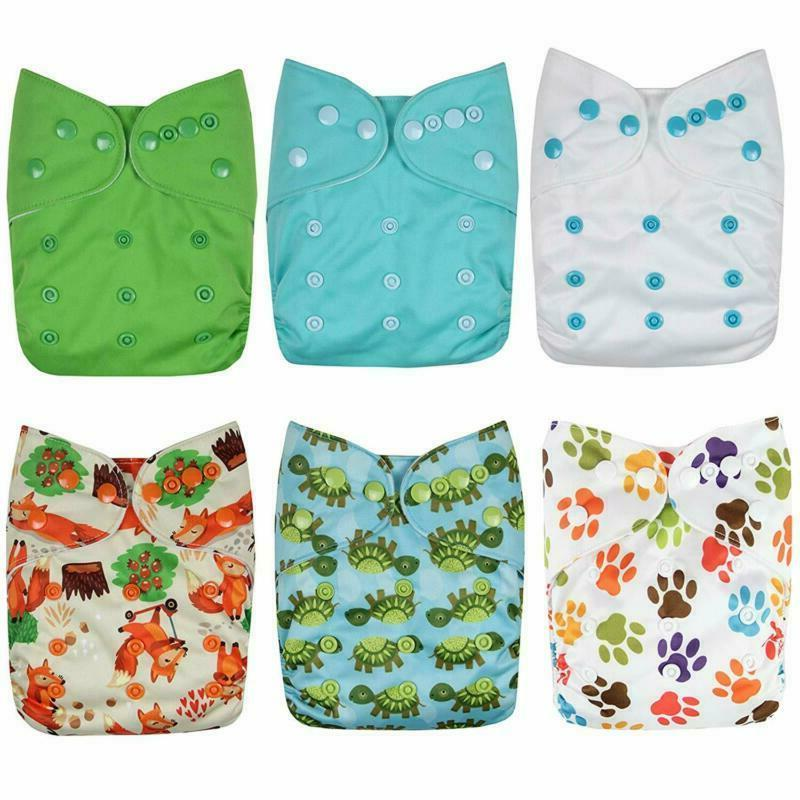 Wegreeco Washable Reusable Cloth Diapers 6 Pack + Inserts