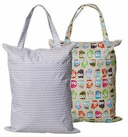 Large Zippered Hanging Wet Dry Bag with Snap Tote Handle for