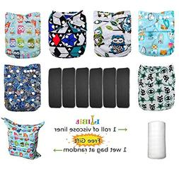 Lilbit 6 Nappy Adjustable Baby Cloth Diapers with 6 Bamboo C