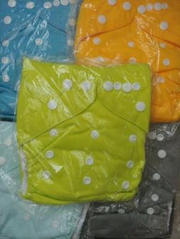 Lot Of 5 Alva Baby Cloth Diapers - Green, Yellow, Blue, Ligh