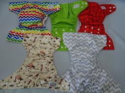 Lot of 5 Cloth Diapers ALVA Baby Land Pocket & Covers NO Ins