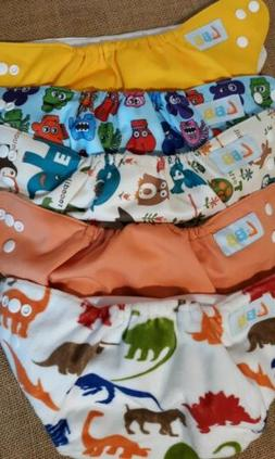 Lot of 5 LBB Reusable Diapers Adjustable Snaps Dino, Alphabe