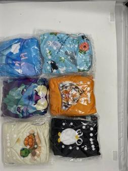 LOT OF 6 CLOTH DIAPERS ALVA BABY W/ INSERTS. Adjust to fit S