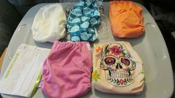 Lot of 6 ALVABABY Cloth Diapers Pocket Washable Adjustable R