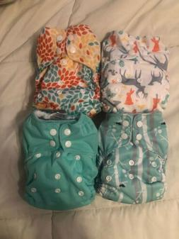 Lot Of Four  Thirsties One Size All In One AIO Cloth Diapers
