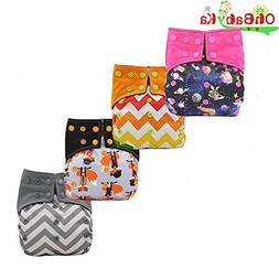 Baby Nappy Bamboo Charcoal Cloth AIO Diaper, Sewn in Insert