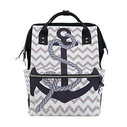 ALIREA Nautical Anchor Diaper Bag Backpack, Large Capacity M