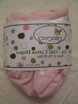 New OsoCozy All In One AIO Cloth Diaper Sz 2 Pink Bleached C