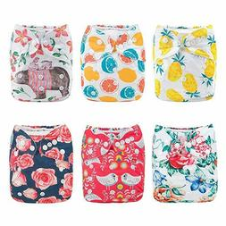 New ALVABABY Cloth Diaper, One Size Adjustable Washable 6pc