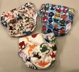 NEW~Lot 3~LBB~Cloth Reusable Baby Diapers~Dinosaurs Animals~