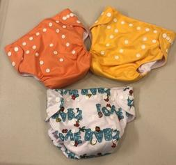 NEW~Lot 3~LBB Cloth Reusable Diapers~Yellow Orange Baby Love