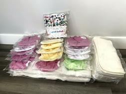 NEW Lot of 55 Kawaii Baby Cloth Diapers Organic Cotton Prefo