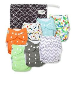 Nora's Nursery Baby Cloth Pocket Diapers  with 7 Bamboo Inse