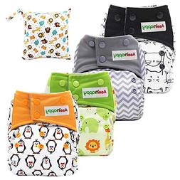 Asenappy All in One Cloth Diaper 4 Pack Reusable AIO Sewn In