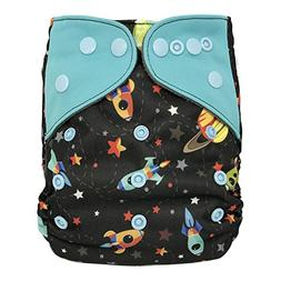 All-in-one Cloth Diaper Shell with Double Gussets, Snap Butt
