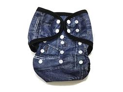 BB2 Baby One Size Printed Black Gussets Snaps Cloth Diaper C