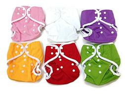 BB2 6 pcs Baby One Size Solid Leak-free Snaps Cloth Diaper C