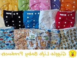 Giggle Life Optimize Cloth Diapers & Insert Lot Fits Babies