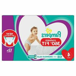 Pampers Cruisers 360˚ Fit Diapers, Size 4, 108 Count, New,