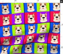 Pitbulls Color Colors Colours Fabric Printed by Spoonflower