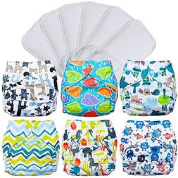 FuzziBunz Pocket Cloth Diapers 6 Pack Bundle with Inserts