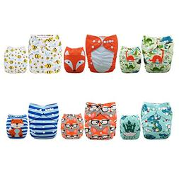ALVABABY 6 Pack with 12 Inserts Baby Diaper, Pocket Cloth Di