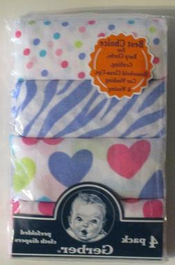 Gerber Prefolded Cloth Diapers 4 Pack Multicolor 100% Cotton