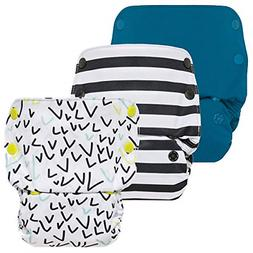 GroVia Reusable All in One Snap Baby Cloth Diaper AIO - 3 Pa