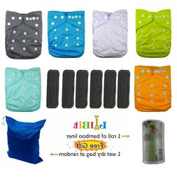 LilBit Reusable Baby Cloth Pocket Diapers, 6 pcs + 6 Bamboo