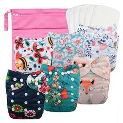 Babygoal Reusable Cloth Diapers for Girls, Adjustable One Si