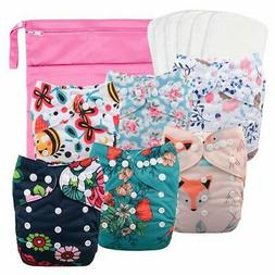 Babygoal Reusable Cloth Diapers for Girls Adjustable Washabl