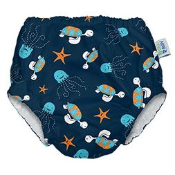 My Swim Baby Reusable Swim Diaper, 3X, Navy Sea Friends