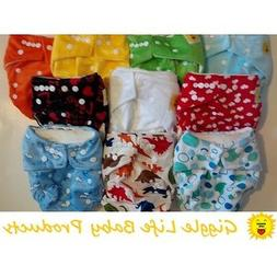 Select Lot of Giggle Life Bamboo Cloth Diapers & Inserts Fit