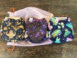 "SET OF 3 NEW ""MAMA KOALA"" ONE-SIZE NAVY CLOTH DIAPERS w/"