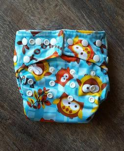 Bumkins Snap-in-One Cloth Diaper, Owls, Blue, with Minky Ins