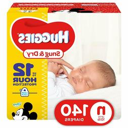 HUGGIES Snug & Dry Baby Diapers Size Newborn 140 Count