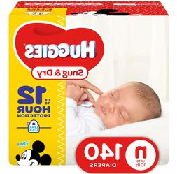 HUGGIES Snug & Dry Diapers, Size Newborn, 140 Count, GIGA JR