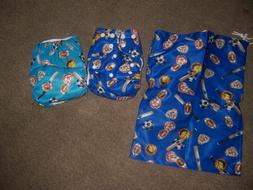 Sports pocket cloth diapers , wet bag 2 snap in doublers new