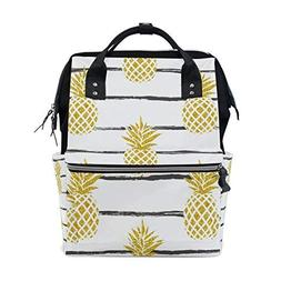 ALAZA Summer Tropic Pineapple with Stripes Fashion Diaper Ba