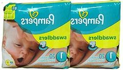 Pampers Swaddlers Diapers, Size 1, 20 Count Pack Of 2